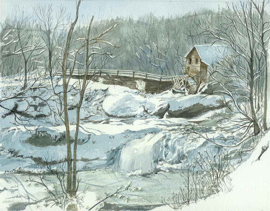 Landscape Painting - Winter Mill by Lynn Babineau