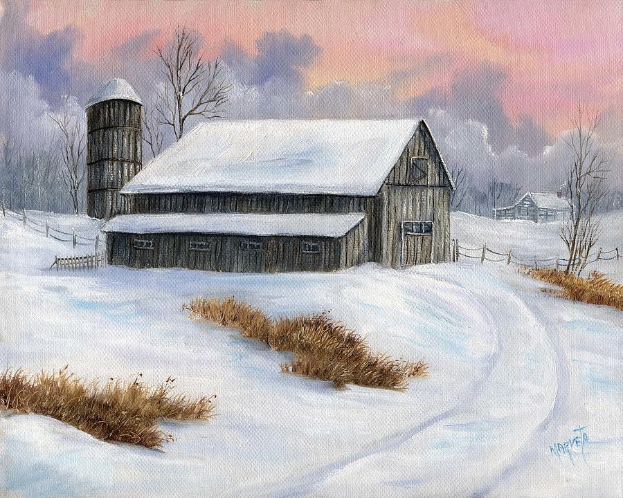 Barn Snow Painting - Winter Moment by Marveta Foutch