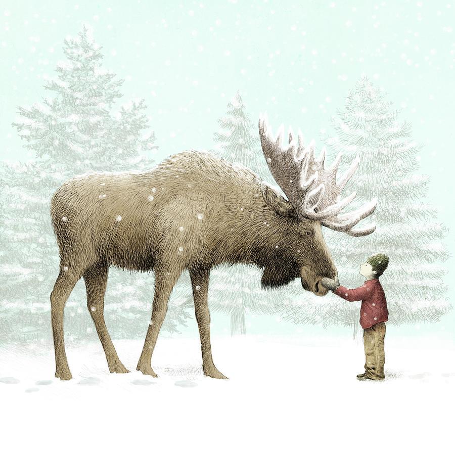 Winter Moose Drawing By Eric Fan
