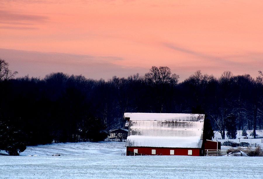 Red Barn Photograph - Winter Morn by Diane Merkle