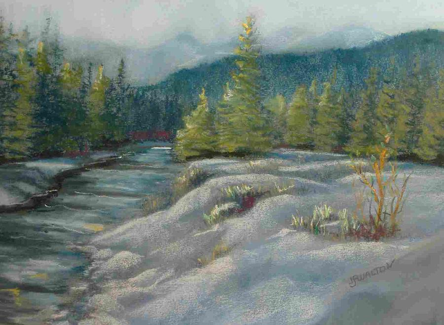 Winter Scene Painting - Winter Mountain Evening by Judy Walton