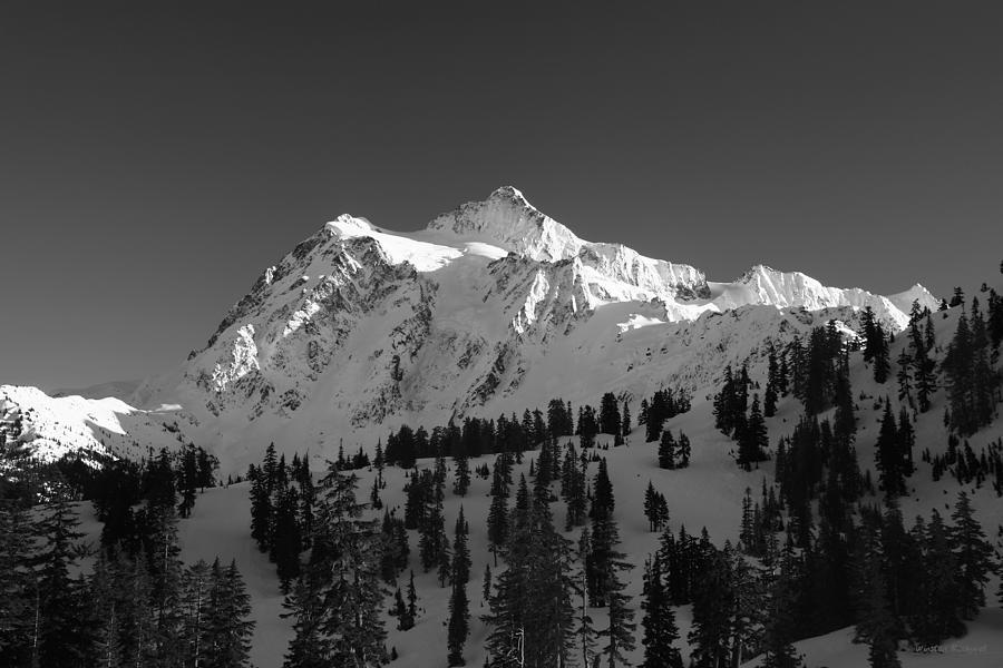 Mountain Photograph - Winter Mountain Monochrome by Winston Rockwell
