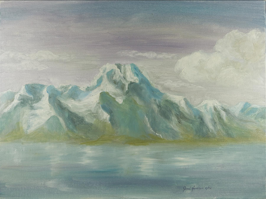 Mountains Painting - Winter Mountains by Joni Herman