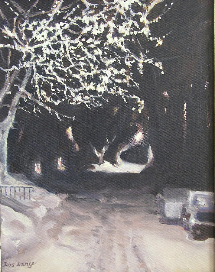 Snowy Night Painting - Winter Night by Donna Lange