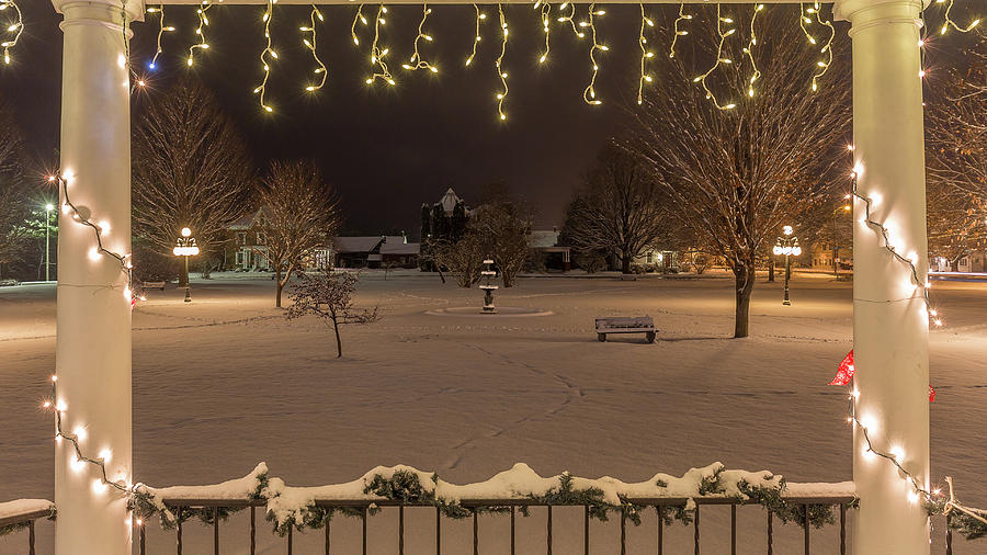 Vermont Photograph - Winter Night From the Gazebo by Tim Kirchoff