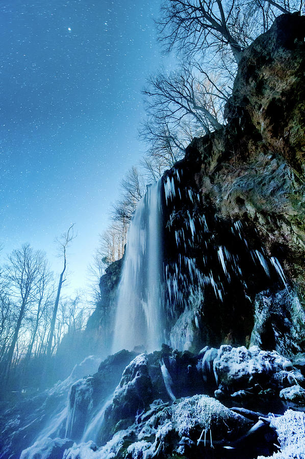 Waterfall Photograph - Winter Night Mist by Jon Beard