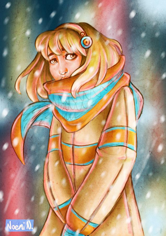 Girl Digital Art - Winter Night by Noemi N