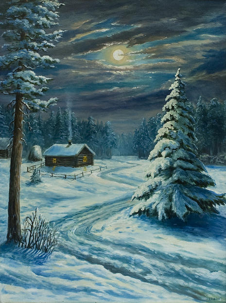 Landscape Painting - Winter Night by Vladimir Bibikov