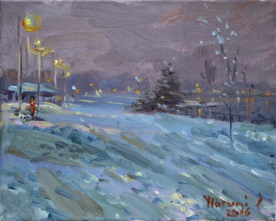 Winter Painting - Winter Nocturne By Niagara River by Ylli Haruni