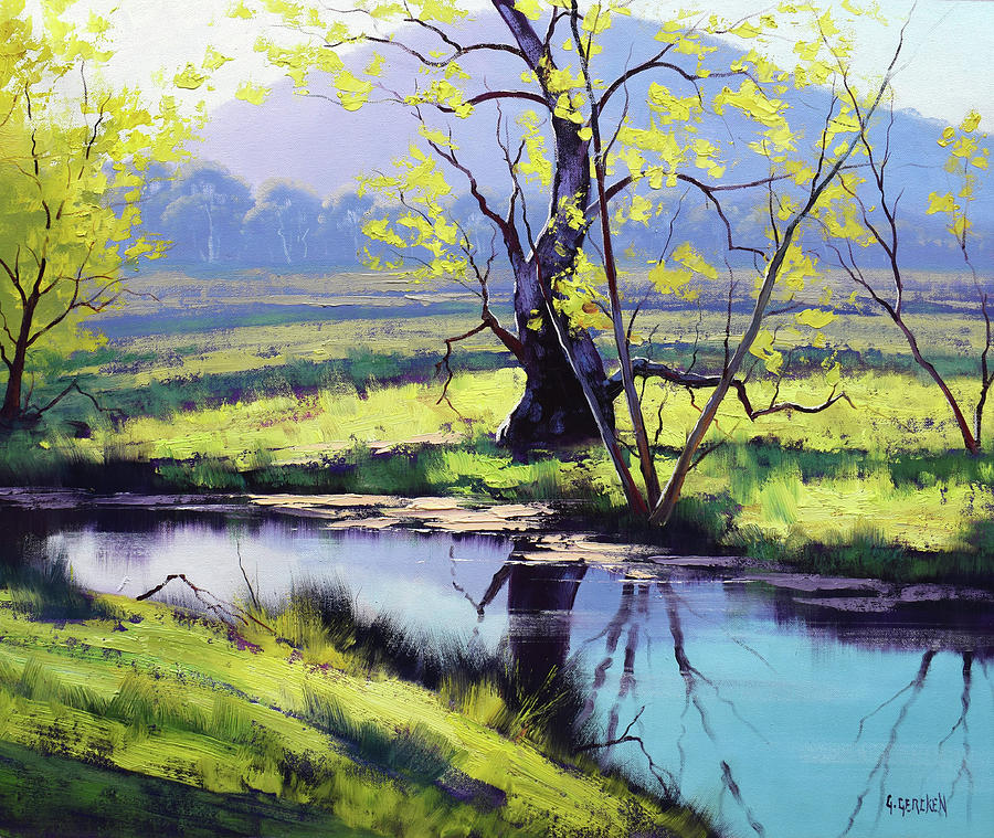 Autumn River Painting - Winter On Fish River Australia by Graham Gercken