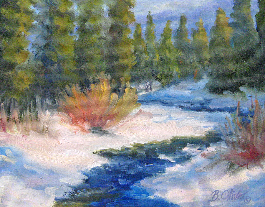 Landscape Painting - Winter On Gore Creek by Bunny Oliver