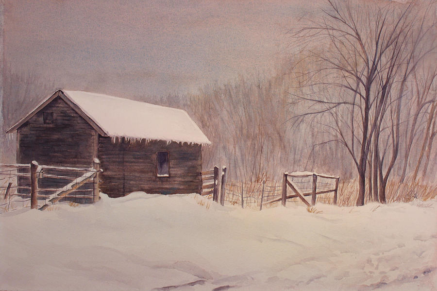 Barn Painting - Winter On The Farm  by Debbie Homewood