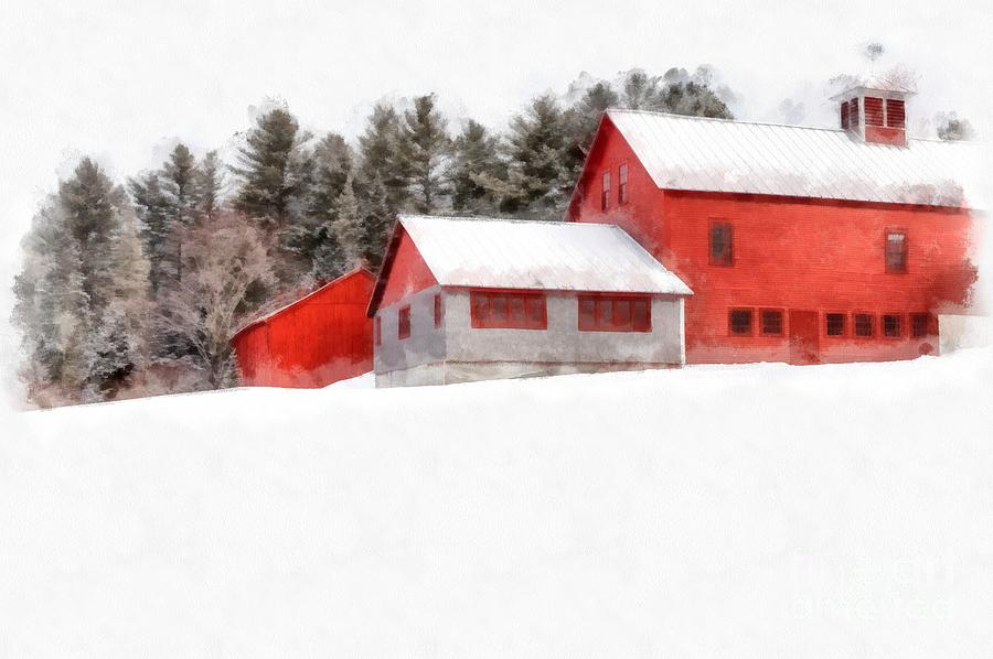 New England Photograph - Winter On The Farm Enfield by Edward Fielding