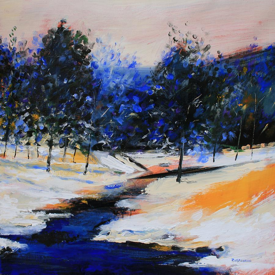 Landscape Painting - Winter On The Hill by Mario Zampedroni