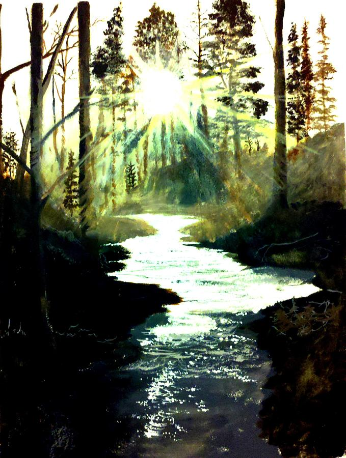 Pictures Canvas Painting - Winter Over Almond Creek by Travis  Ragan
