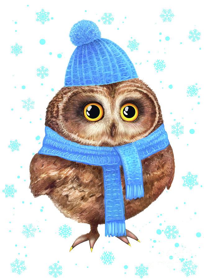 Winter Owl Digital Art by Korenkova Valeriya