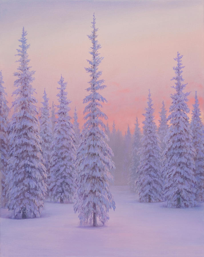 Christmas Card Painting - Fir Trees Laden with Snow at Sunset by Brian McCarthy