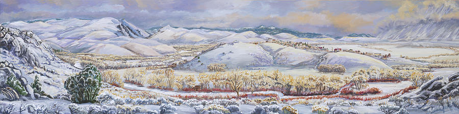 Landscape Painting - Winter Panorama From The River Mural by Dawn Senior-Trask