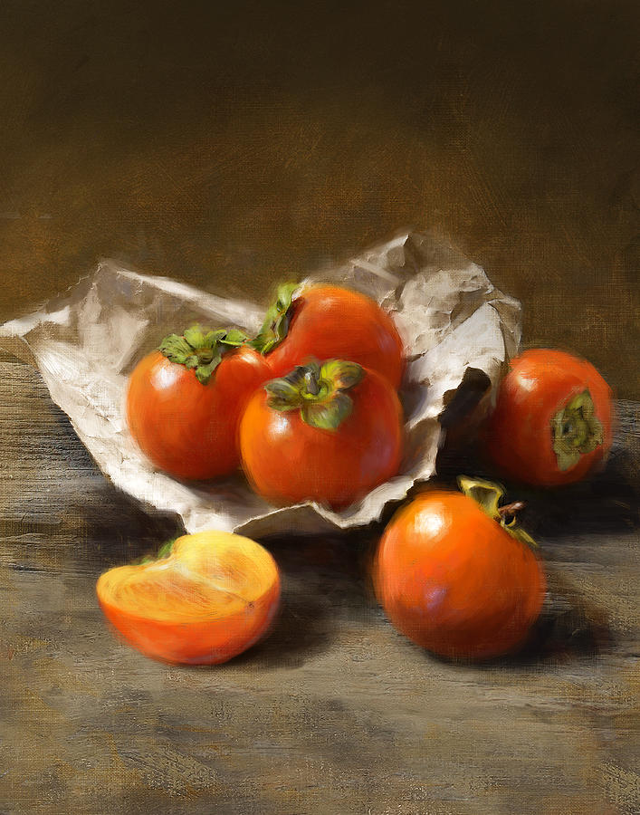 Persimmons Painting - Winter Persimmons by Robert Papp