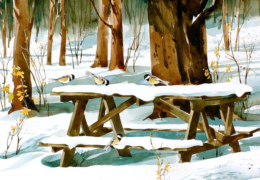 Winter Picnic Painting by Art Scholz