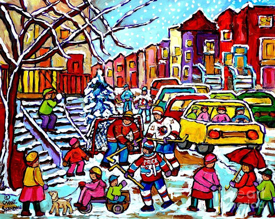 winter playground montreal hockey kids street hockey