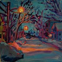 Winter Painting - Winter Quebec St by Elizabeth Fraser