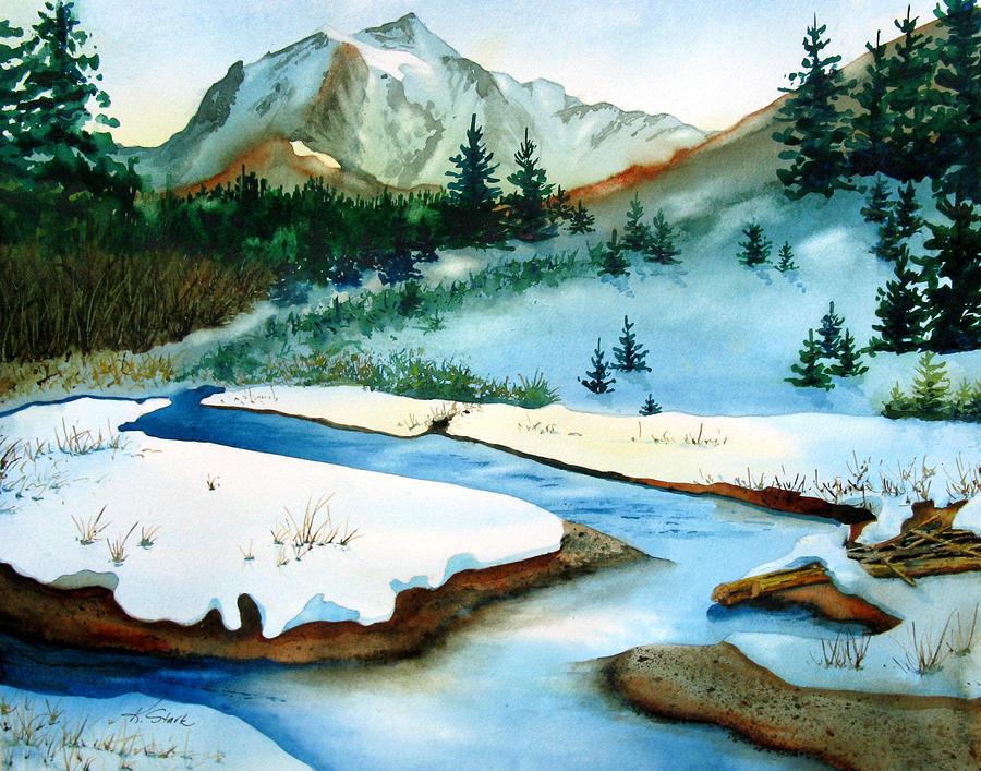 Winter Painting - Winter Retreating by Karen Stark