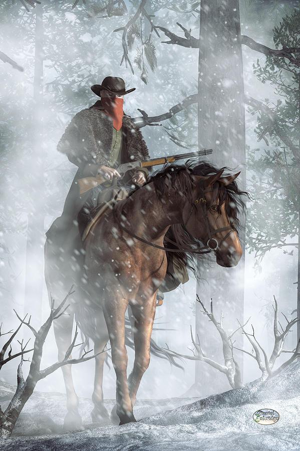 Western Digital Art - Winter Rider by Daniel Eskridge