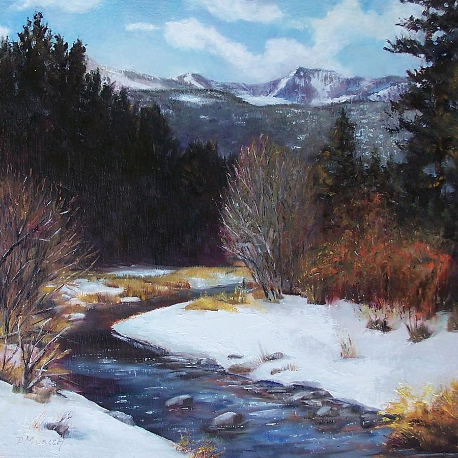 Oil Painting Painting - Winter River Bend by Donna Munsch