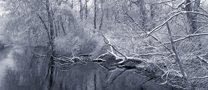River Digital Art - Winter River by Jim Stafford