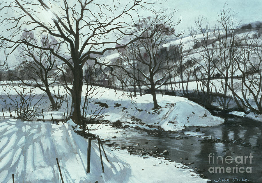Snow Painting - Winter River by John Cooke