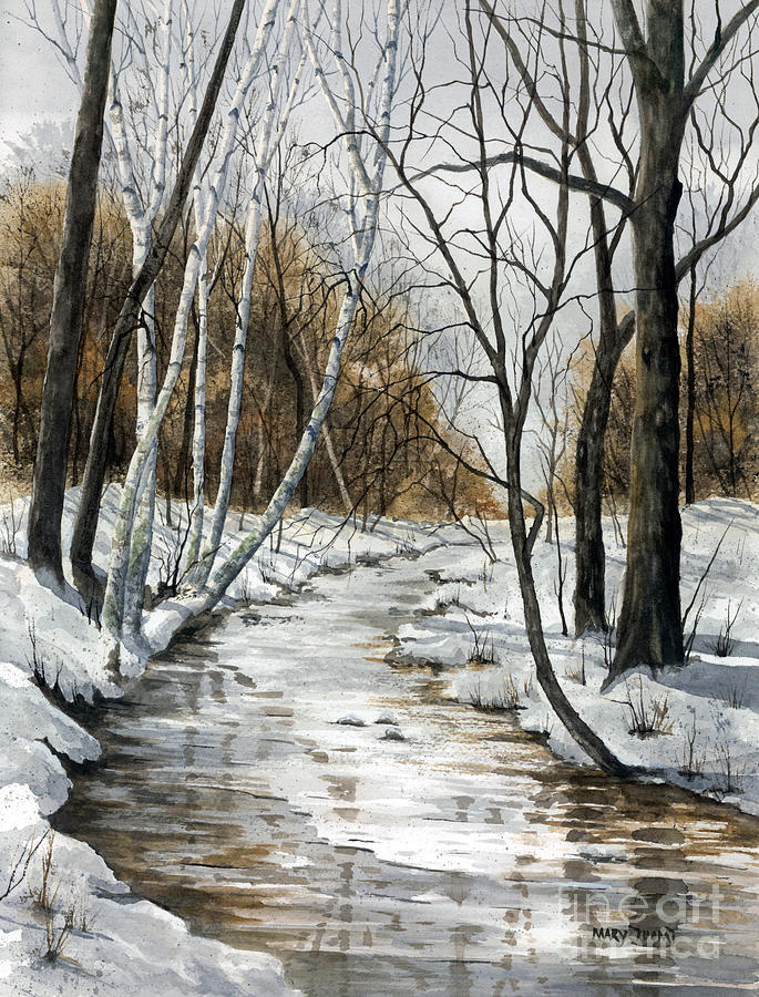 Minnesota Painting - Winter River by Mary Tuomi