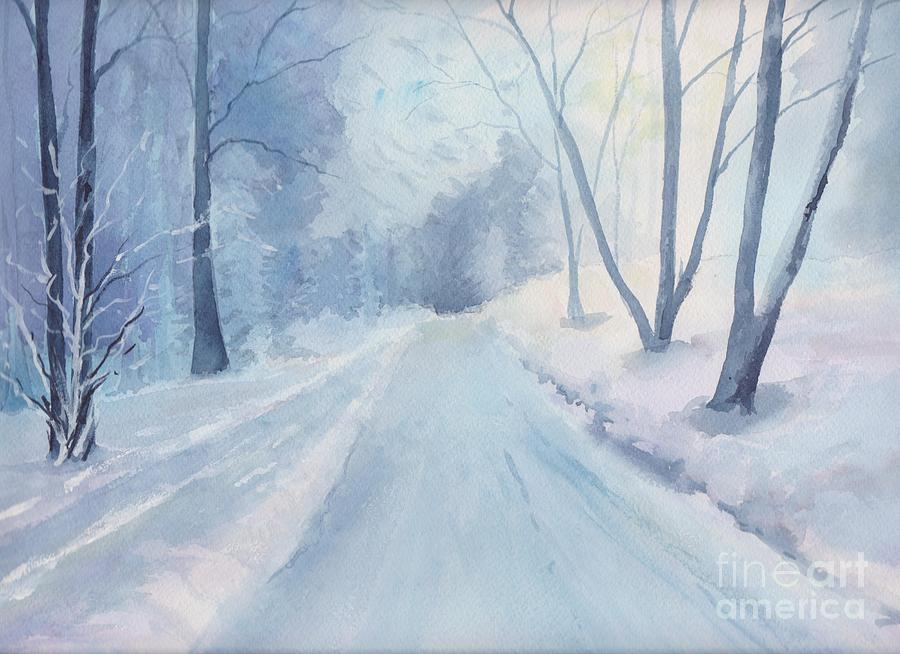 Winter Road Krkonose Mountains, From Photo By Milos Polacek Painting by Yohana Knobloch