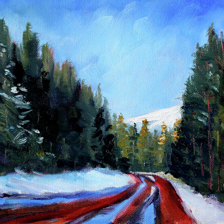 Mountain Scene Painting - Winter Road Trip by Nancy Merkle