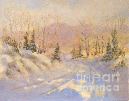 Landscape Painting - Winter Roadway by Carol Hama Chang