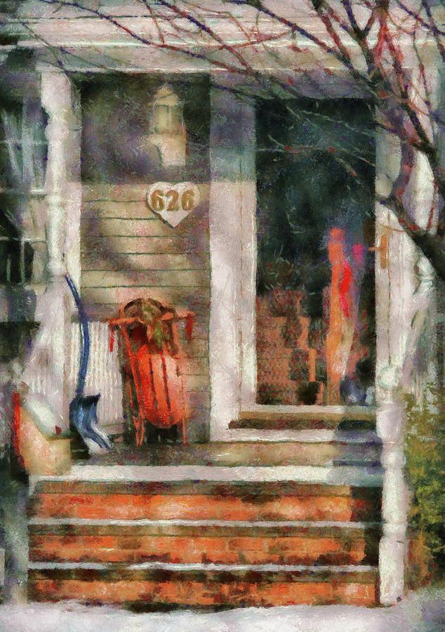 Savad Photograph - Winter - Rosebud And Shovel - Painted by Mike Savad