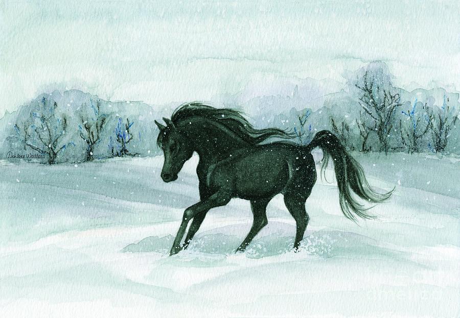 Horse Painting - Winter Run by Darlene Watters