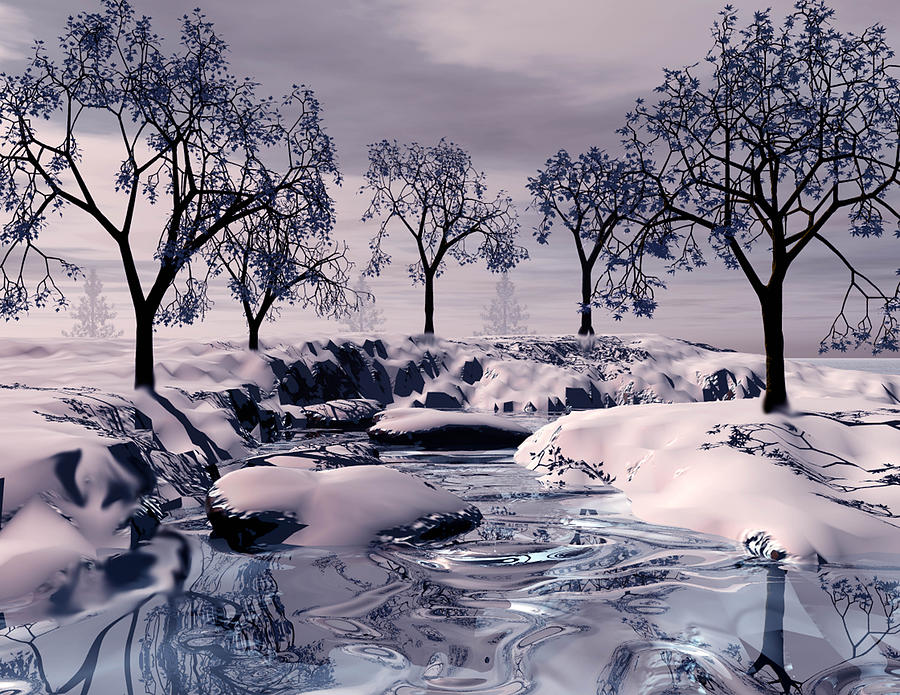 winter scene digital art by john junek