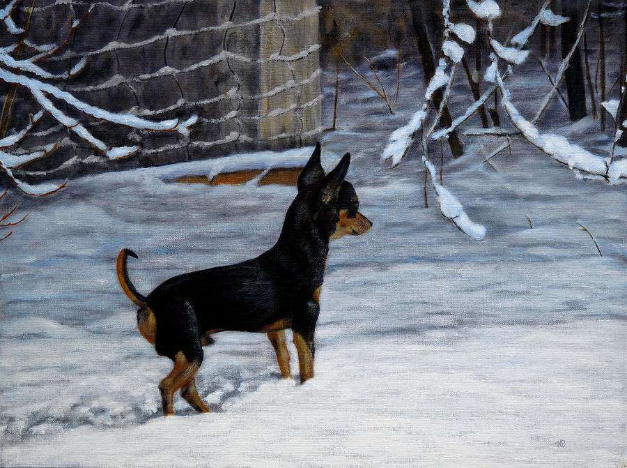 Chihuahua Painting - Winter Scene by Karen Peterson