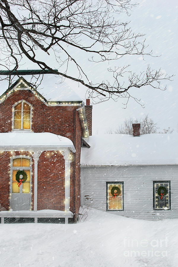Winter scene of a a farmhouse with holiday lights by Sandra Cunningham