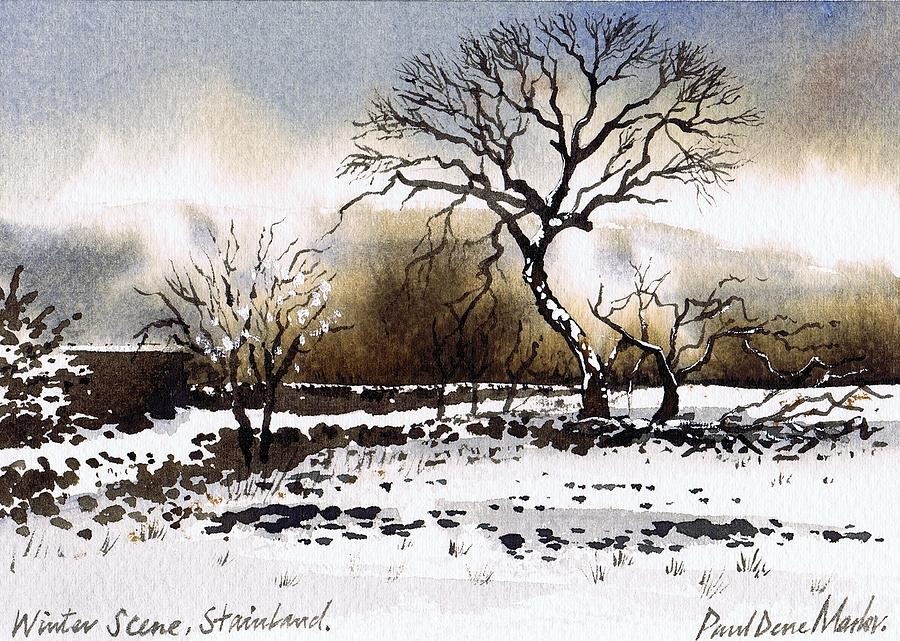 Winter Painting - Winter Scene Stainland by Paul Dene Marlor