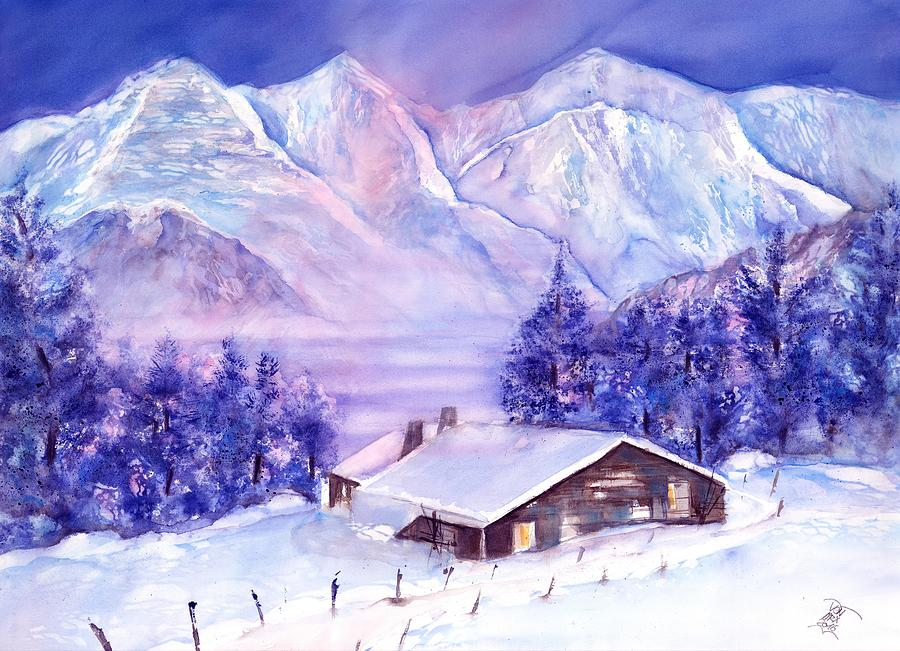 Swiss Mountains - Winter scene with Eiger Moench Jungfrau by Sabina Von Arx