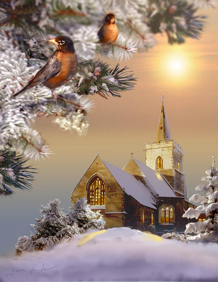 Winter Scene With Robins And Church Painting