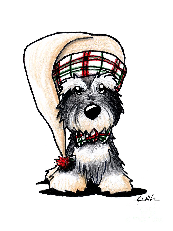 Winter Schnauzer Drawing By Kim Niles