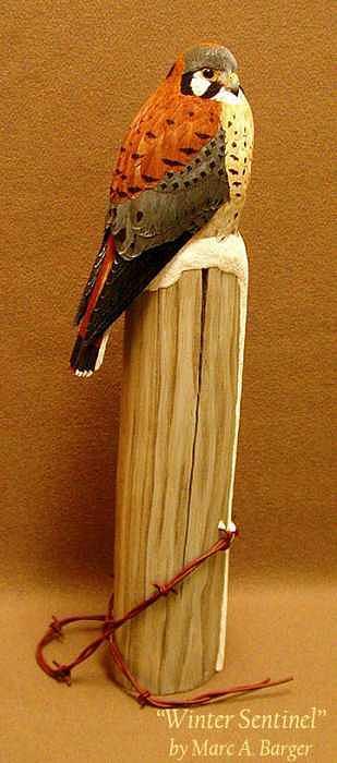 Kestrel Sculpture - Winter Sentinel by Marc  Barger