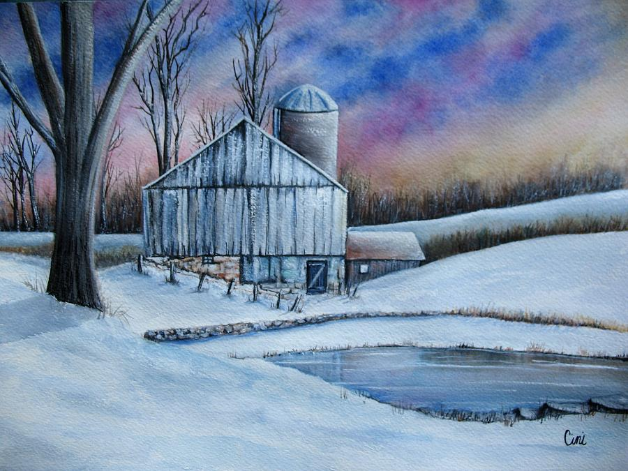 Snow Painting - Winter Serenity by Lisa Cini