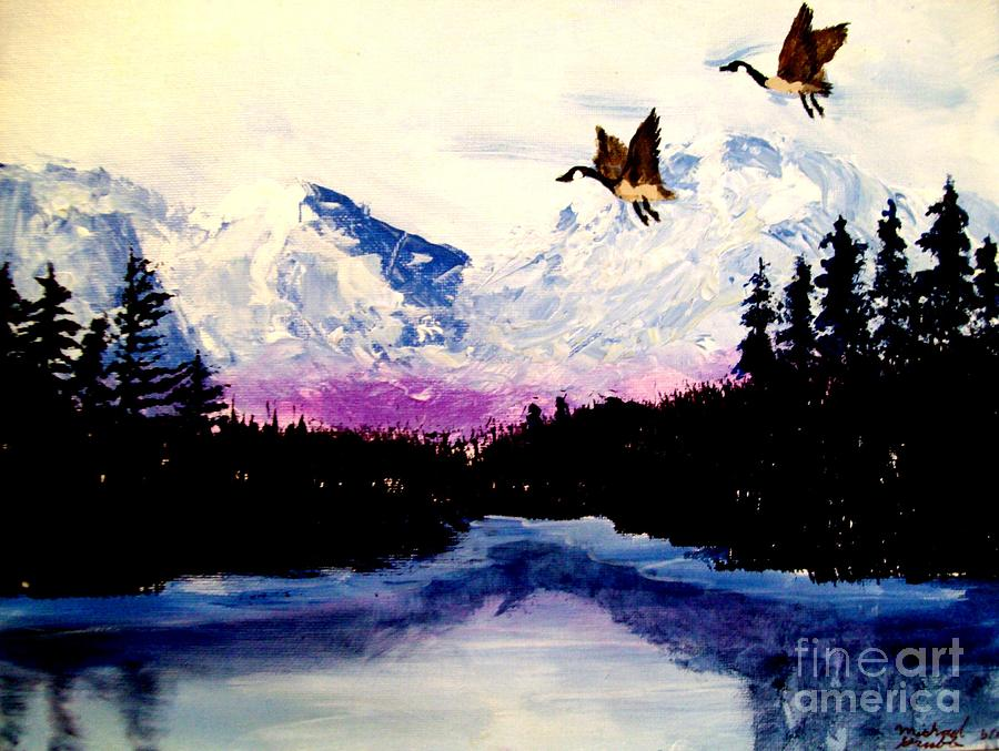 Alaska Painting - Winter Silence by Michael Grubb