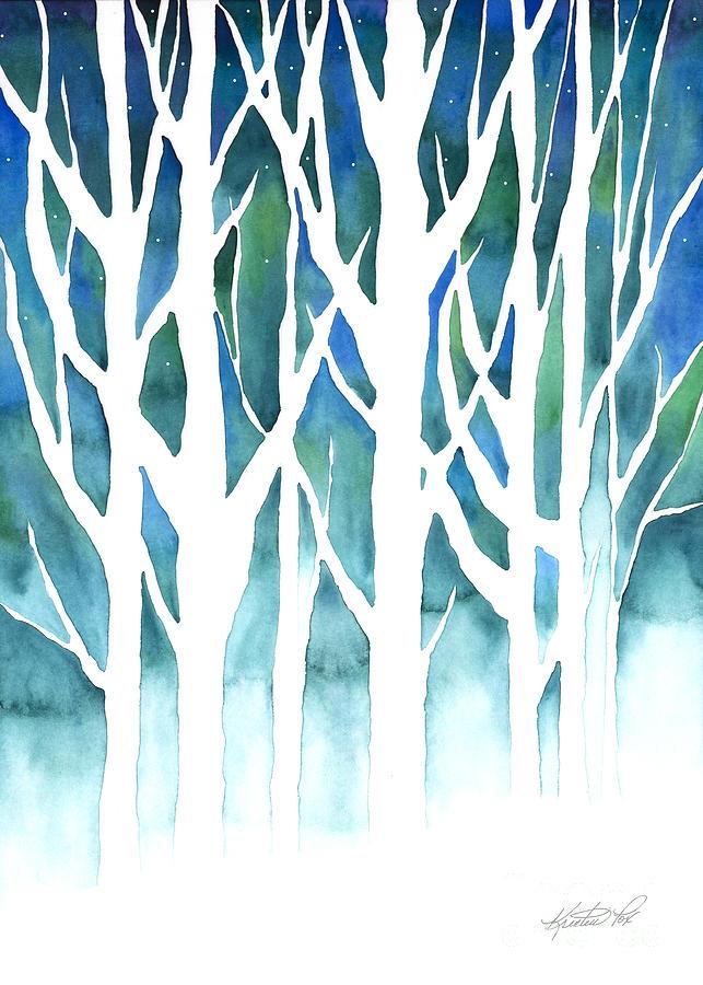 Winter Silhouette Painting By Kristen Fox