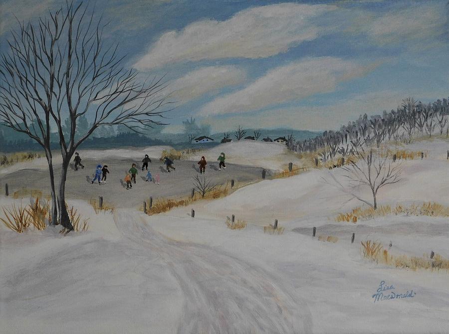 Landscape Painting - Winter Skate by Lisa MacDonald