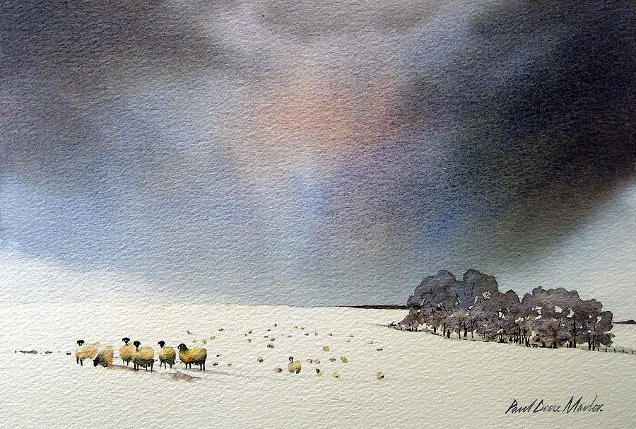 Landscape Painting - Winter Snow Swaledale by Paul Dene Marlor